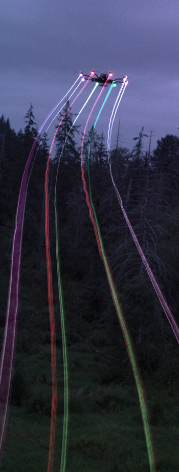 Freefly Robotics sensors being used to create rainbow long exposure drone photography in a helix pattern