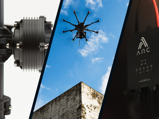 Triptych of Freefly Robotics technology in use in a camera stabilizer, a drone and the arc200 motor drive
