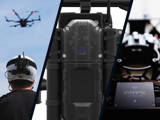 Triptych showing Freefly Robotics sensors in use in drone piloting, MōVI Pro camera stabilizer and Synapse auto pilot technology